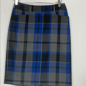 Dress Barn blue/black/grey plaid skirt size 4